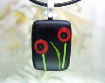 Valentine Poppy Bitty Pendant- Fused Glass Jewelry Handmade in North Carolina