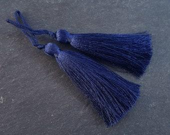 Long Navy Silk Thread Tassels Earring Bracelet Necklace Tassel Jewelry Fringe Turkish Findings -  3 inches - 77mm  - 2 pc