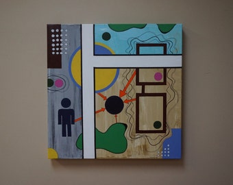 """Environments ; 20"""" x 20"""" Acrylic and Ink abstract painting on canvas."""