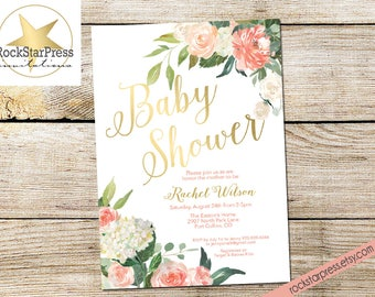 Floral Baby Shower Invitations - Gold, Peach, Coral, Pink, Girl, Bridal Shower _ 1309