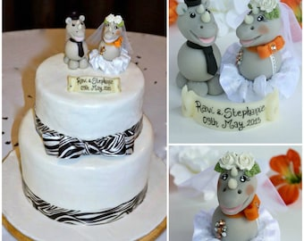 Rhino wedding custom cake topper with banner, orange wedding, jungle safari cake topper