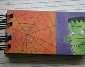 Halloween Mini Album Shipping tag Style 6 pages web, frankenstein