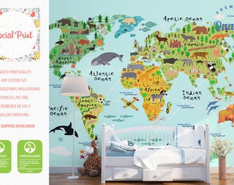 Nursery wallpapers etsy animal world map wallpaper with landmarks non woven wall covering free shipping publicscrutiny Gallery