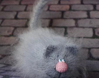 Grey Lying Cat Amigurumi Toys Fuzzy Cats Funny Stuffed Kitten Handmade crochet cat Cheshire toys woolen cats knitted Valentine's decor toy