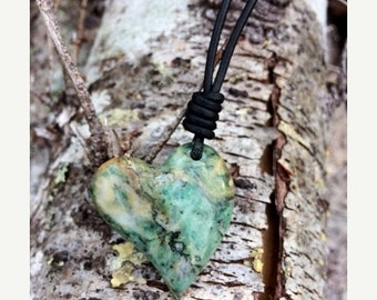 Sale - Listwanite Heart and Leather Necklace