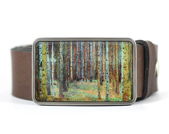 Tree belt buckle, Womens belt buckle, Klimt Belt Buckle, Pine Forest Belt Buckle, Fine Art Belt Buckle, gift for her