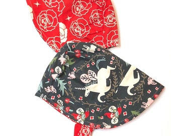 UB2 ORGANIC UNICORNICOPIANA unicorns in a midnight blue sky & red tulips infant toddler sun bonnet sun hat little sunhat, Urban Baby Bonnets