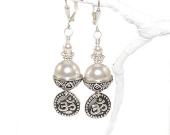 White Swarovski® Pearl Om Earrings, Mindfulness Jewelry, Made in New Zealand