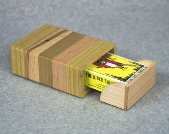 Wooden Fortune Telling Card Deck Storage Box for 78-card Tarot Deck - Handmade in Our Shop - Drawer Slides - Easy Deck Removal