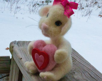 Valentine Gift Gift For Her Gift For Mom Birthday Gift Wool Mouse Needle Felted  Wool Fiber Sculpture