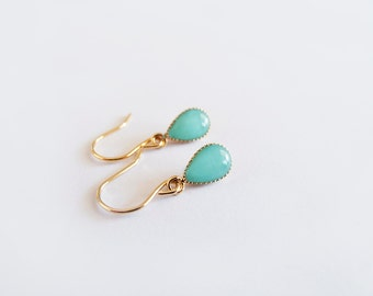 Turquoise Gold Dangle Drop Earrings - Gift for Her