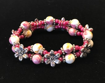 Two-Strand Flower Beads with Pearl Beads and Silver-Plated Flower Sliders Stretch Bracelet