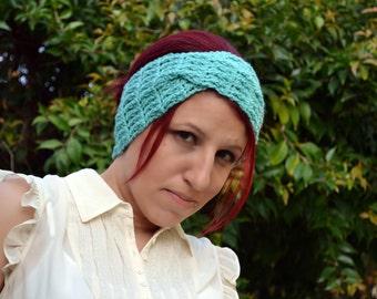 Crochet turban in aqua, hairband, headband, headwrap, ear warmer