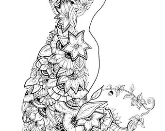 A4 Fox woodland animal series Zentangle inspired art Print