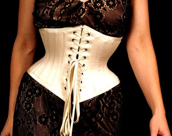 Handmade Tightlacing Underbust Corset Double Layer Natural Unbleached Cotton Coutil Front Back Lacing with Steel Boning & Matching Laces