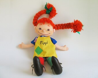 Vintage Pippi Longstocking Doll a book character created by Swedish author Astrid Lindgren, Omega Toys 1988, 1980s Toys