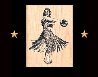 HULA DANCER Rubber Stamp, Hawaii Stamp, Vintage Hawaii, Aloha, Hawaii Rubber Stamp, Hawaiian Dancer, Hula Stamp, Hula Gift, Grass Skirt, Ipu