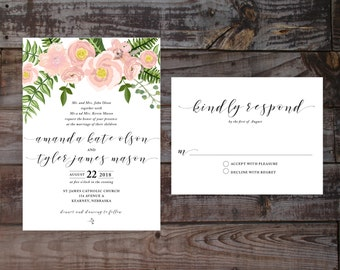Floral wedding invitations, printed wedding invitations, watercolor wedding invitations, formal wedding invitations, vintage wedding invites