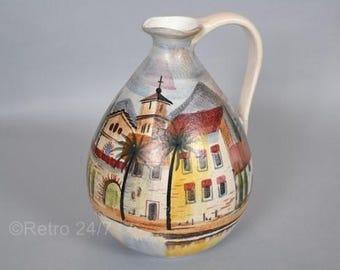 Lovely  handpainted German vase by Jawe - decor Swiz