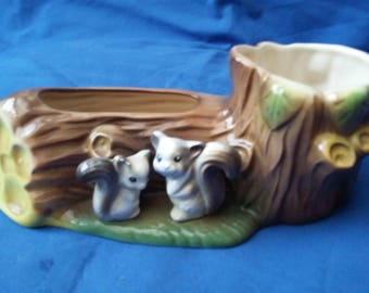 Vintage Hornsea Tree and Squirrel Vase