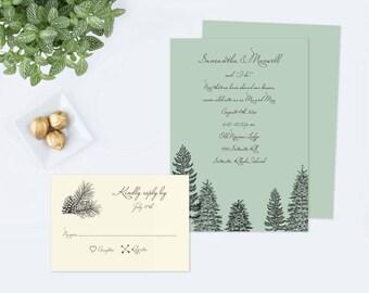 Rustic Wedding Invitation Template, Woodland Wedding Invites, Instant Download Wedding Template, Editable Text Invitation Template, PDF File