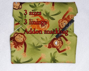 Reusable Sandwich Wrap, Bag, Swinging Monkeys with, without Snack Bag, Eco-Friendly, Lining Options /