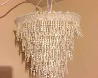 Venise Lace Faux Chandelier Pendant Lamp Shade 'White'