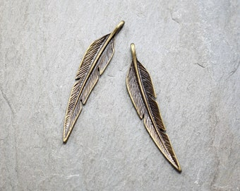 2 PC Feather Charms, Dainty Charms, Antique Bronze Charm, Feather Necklace, Leaf Charm, 42mm, Metal Charms, Mini Charms AB35