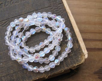 Crystal AB English Cut 4.5mm Rough Faceted Beads Czech Glass (100)