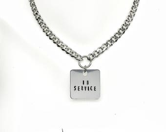 BDSM Collar IN SERVICE Engraved Necklace 316L Stainless Steel Chain with Padlock or Lobster Clasp Closure