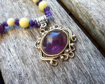 AMETHYST and Lemon JASPER Necklace DIVINITY