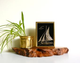 Black Velvet Embroidered / Thread / String Ship Pin Framed Wall Art