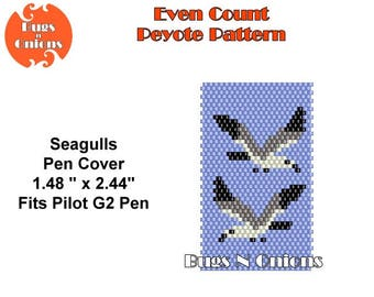 Peyote Stitch Pen Cover, Seagulls, Instant Download PDF File
