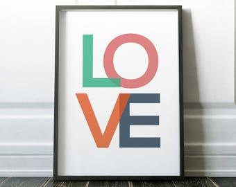 Wall Art, Love Print, Scandinavian Print, Wall Art Print, Love Wall Art, Prints, Minimalist Print, Gallery Wall Print, Typography Print,