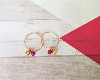 Hoop Earrings, Gold Hoop Earrings, Small Hoop Earrings, Unique Earrings, Gold Dangle Earrings, Hoop with Beads Earrings, Hoop Drops Earrings