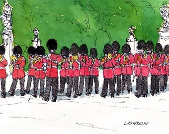 London Changing the Guard art print from an original watercolor painting