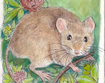 Field Mouse Watercolor Painting