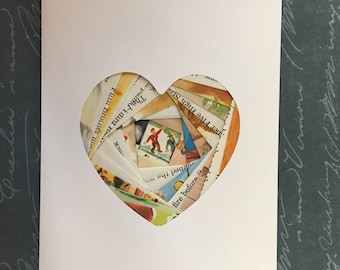 Iris folded heart shape greeting card - vintage children's book pages