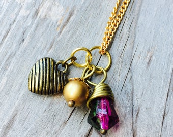 Necklace Heart Charm Pendant with Striped Brass Heart, Wire Wrapped Raspberry Purple and Gold Round Bead Dangle on Vintage Gold Chain