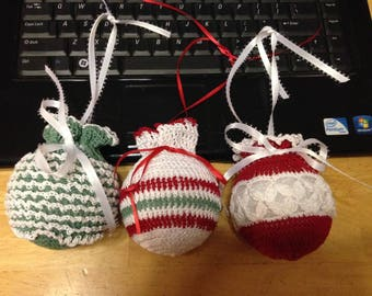 Crocheted Ball Ornaments set of 3