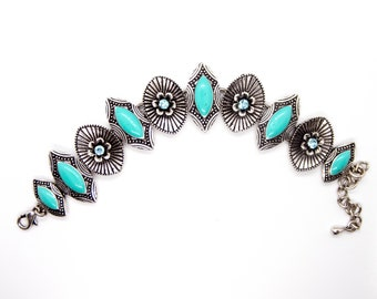 Turquoise and Oxidised Silver Metal Bracelet