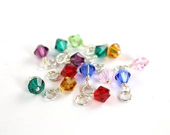 5 Birthstone Crystals or Pearl Charms , 5 10 25 units , Wire Wrapped  with Jump Rings , Swarovski Birthstone Crystal , Wholesale Charms
