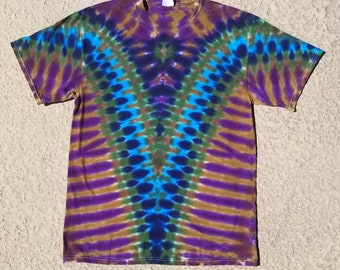 Purple, Bronze, and Blue V Tie Dyed Tee
