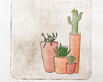 Cactus plant print, cactus pot original print - hand pulled etching and watercolour collagraph print
