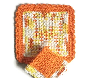 Crochet Dishcloth Set, Reusable Kitchen Linens, Eco Friendly Gifts, New Home Housewarming Gift, Orange Bathroom Decor, College Dorm Girl