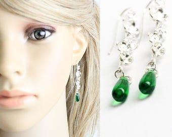 dark green earrings silver flower jewelry thread earrings green weddings woodland jewelry bridesmaid earrings wife gift emerald earrings F22