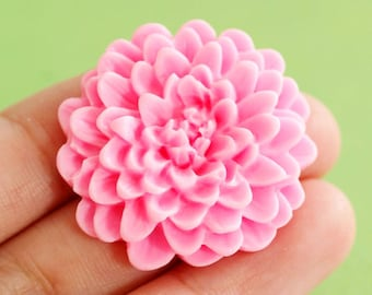 Sale 4pcs Pink Big Flower Cabochons 32mm A901