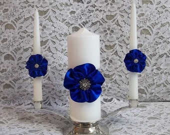 Wedding Unity Candle set with handmade 5 petal Roses in Royal Blue and Rhinestone Mesh Trim, Made to Order