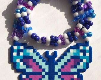 Butterfly Kandi Necklace Perler Rave Necklace
