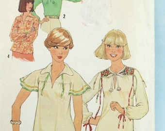 1970s, Vintage, Simplicity 8079, Sewing Pattern, Pullover Top Pattern, Misses', Size 10, 1970s Pattern, OLD2NEWMEMORIES